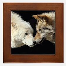 Wolves Kissing Framed Tile