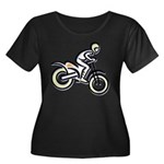 Dirtbiker Women's Plus Size Scoop Neck Dark T-Shir