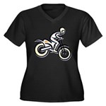 Dirtbiker Women's Plus Size V-Neck Dark T-Shirt