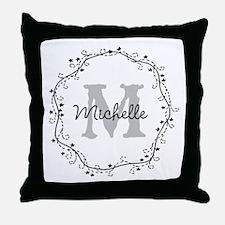 Personalized vintage monogram Throw Pillow