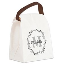 Personalized vintage monogram Canvas Lunch Bag