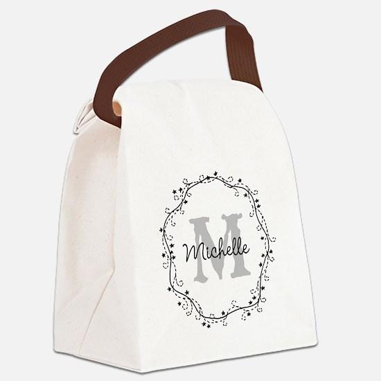 Personalized vintage monogram Canvas Lunch Bag