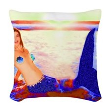 Mermaid Sunset with Green Flash Woven Throw Pillow