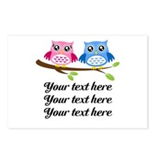 personalized add text Owls Postcards (Package of 8