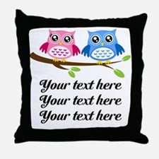 personalized add text Owls Throw Pillow