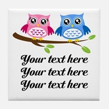 personalized add text Owls Tile Coaster