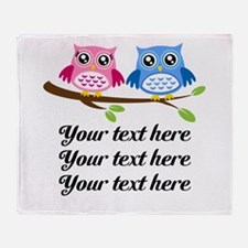 personalized add text Owls Throw Blanket