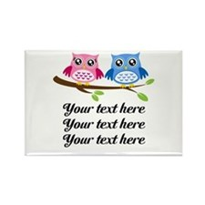 personalized add text Owls Magnets