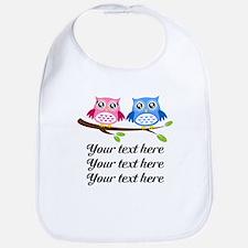 personalized add text Owls Bib