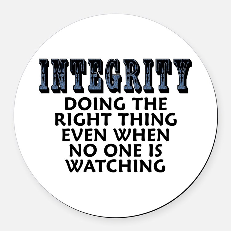 Integrity - Round Car Magnet