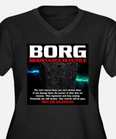 BORG RELENTL Women's Plus Size V-Neck Dark T-Shirt