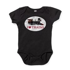 I LOVE TRAINS RED copy.png Baby Bodysuit