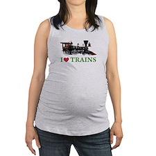 I LOVE TRAINS Maternity Tank Top
