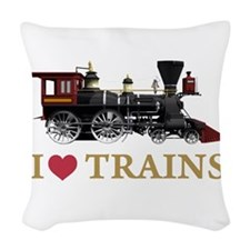 I LOVE TRAINS GOLD copy.png Woven Throw Pillow