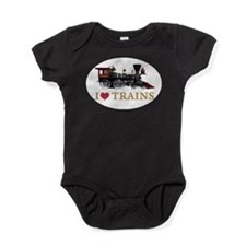 I LOVE TRAINS GOLD copy.png Baby Bodysuit