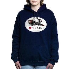 I LOVE TRAINS copy.png Women's Hooded Sweatshirt