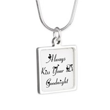 Always Kiss Your Dog Silver Square Necklace