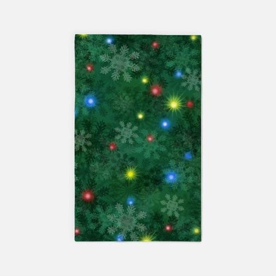 Christmas Snow Lights Area Rug