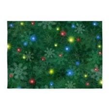 Christmas Snow Lights 5'x7'Area Rug