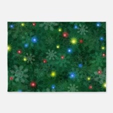 Christmas Snow Lights 5'x7'Area Rug