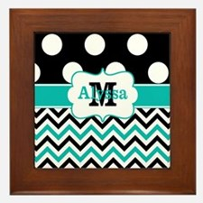 Black Teal Dots Chevron Personalized Framed Tile