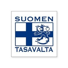 "Funny Suomi Square Sticker 3"" x 3"""
