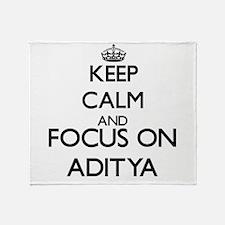 Keep Calm and Focus on Aditya Throw Blanket