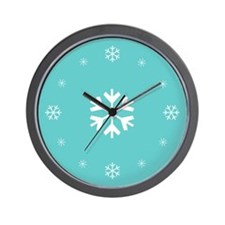 Teal Snowflake Holiday Wall Clock