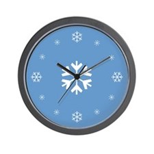 Blue Snowflake Holiday Wall Clock