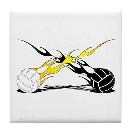 Flaming VolleyBalls Tile Coaster