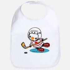 Ice Hockey Penguin (1) Cotton Baby Bib