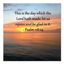 "PSALM 118:14 Square Car Magnet 3"" x 3"""