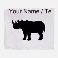 Rhinoceros Silhouette (Custom) Throw Blanket