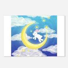 Moon Bunny Blue Postcards (Package of 8)