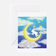 Moon Bunny Blue Greeting Cards