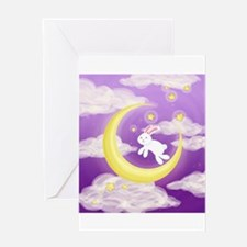 Moon Bunny Purple Greeting Cards