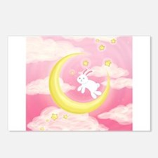 Moon Bunny Pink Postcards (Package of 8)