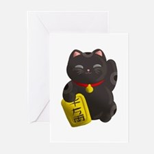 Lucky Cat Black Greeting Cards