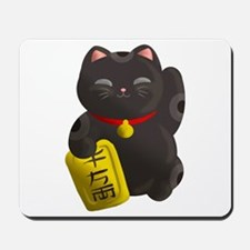 Lucky Cat Black Mousepad