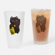Lucky Cat Black Drinking Glass