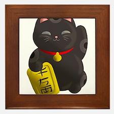 Lucky Cat Black Framed Tile