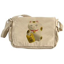 Lucky Cat White Messenger Bag