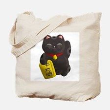 Lucky Cat Black Tote Bag