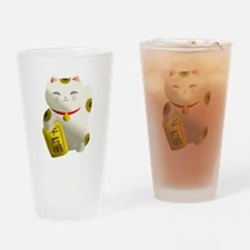 Lucky Cat White Drinking Glass