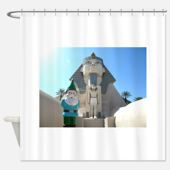 sphinx gnome shower curtain