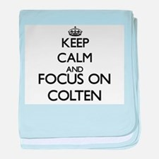 Keep Calm and Focus on Colten baby blanket