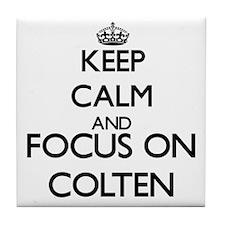 Keep Calm and Focus on Colten Tile Coaster