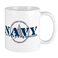 Navy - I Support My Grandson Mug