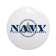 Navy - I Support My Grandpa Ornament (Round)