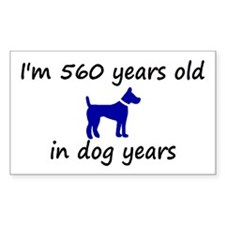 80 dog years blue dog 2 Decal